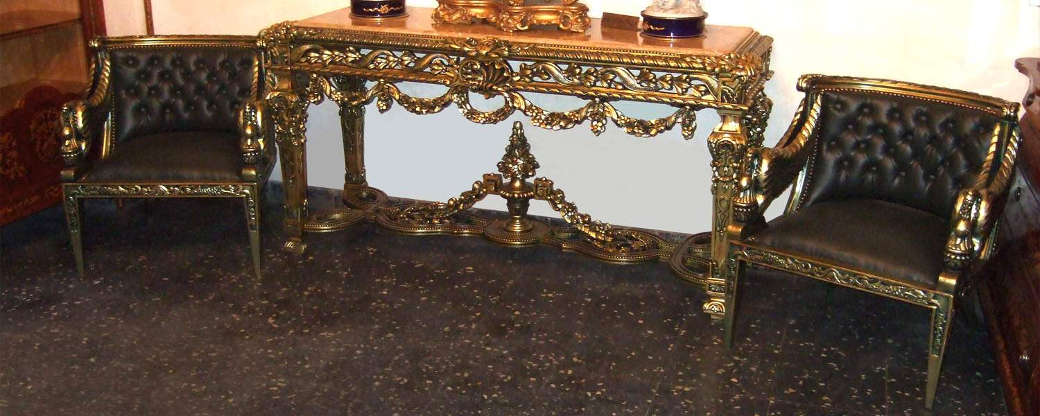 French style carved and gilded entrance console table