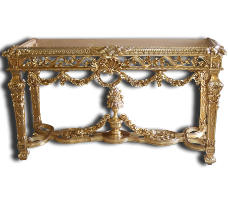 carved and gilded entrance console table